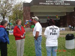 Nancy Carrington President CT Food Bank speaking with Dan Beyer of WhiteTail Solutions & Hunt To Feed